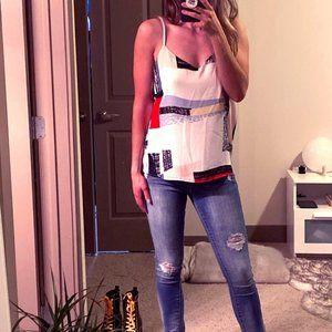 V-Neck Print Dressy Tank Top Blouse | Philosophy
